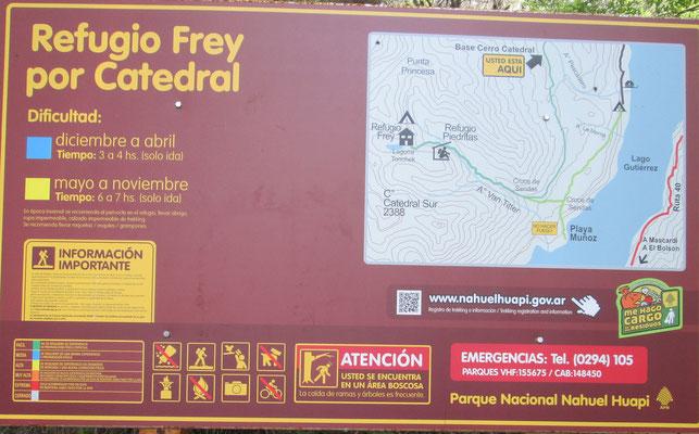 Das Refugio Frey ist ein beliebtes Ziel für Tageswanderungen