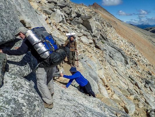 Abstieg vom Cerro Cristal zur Laguna Cretón