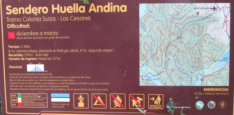 Der Abschnitt Colonia Suiza - Los Cesares ist Teil des über 500 Kilometer langen Fernwanderweges Huella Andina
