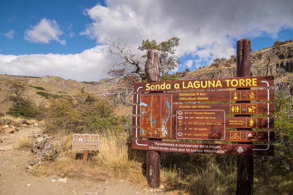 Der Weg zur Laguna Torre ist gut ausgeschildert