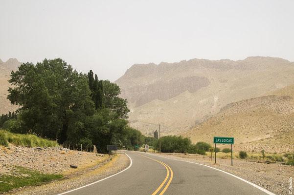 Las Loicas, das letzte Dorf vor dem Internationalen Pass Pehuenche.