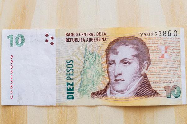 Manuel Belgrano, der Schöpfer der argentinischen Flagge, ist auf dem 10-Peso-Schein abgebildet.