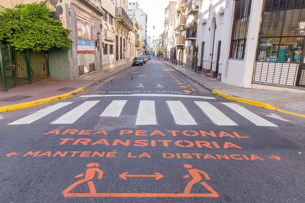 Viele Straßen in Buenos Aires werden während der Pandemie zu Fußgängerzonen erklärt