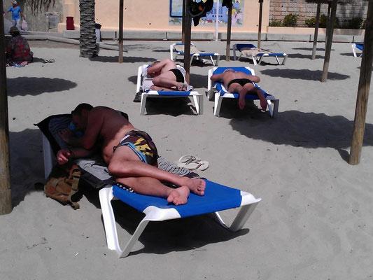 Harte Männer gehn an den Strand und ein paar waren im Meer (hatte ca. 15-16 Grad)