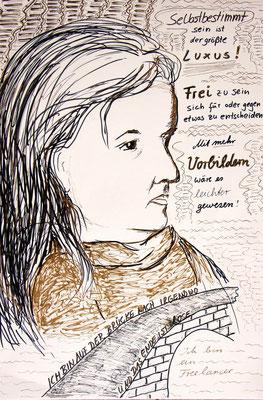"""Münsteraner Frauenporträt"" copyright nathalie arun cornelia kalkhoff erdengoldKUNSTwerk"