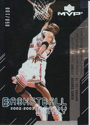 2003-04 Upper Deck MVP Basketball Diary Platinum #BD11 Vince Carter