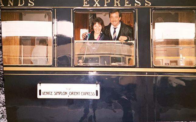 1990: Das erste Mal im Luxuszug Orientexpress von Venedig nach Zürich - ein Genuss.