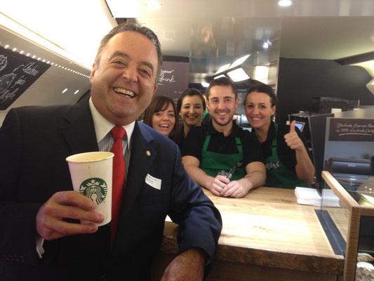 Im allerersten Starbucks-Wagen der Welt