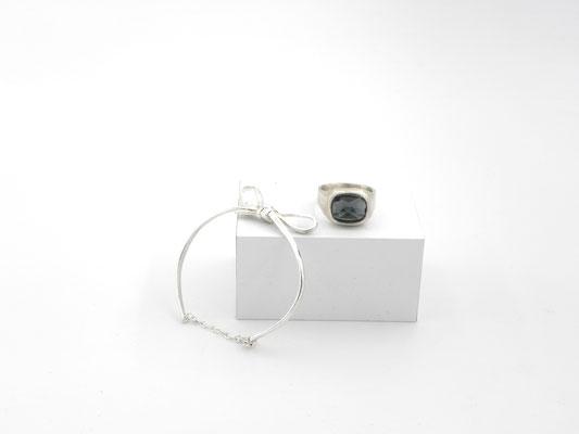 """""""Echtes Wiener Mascherl""""  von Astrid Siber - Armband 925 Silber - € 210 - Herrenring mit  Rauchquarz, Silber - € 325"""
