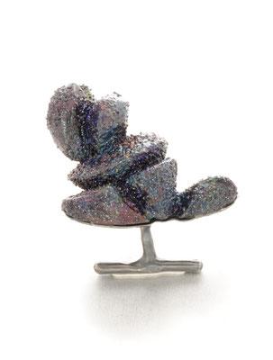 starburst (MKJ3710GBR) / Ring / Balsa wood, fine gravel, various pigments & varnishes, oxidised silver