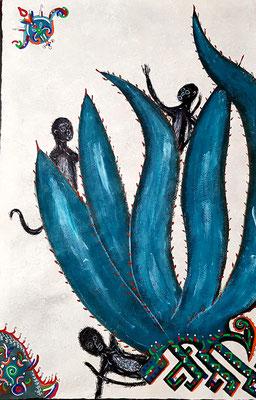 Mono Araña Mayahuel-Alebrije 60x40 cm, acrylique sur papier amate, 2018. Prix 250 €
