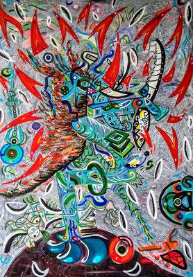 """(Pájaro azul) (D'après le poème de Charles Bukowski, """"Bluebird"""") 65x92 cm. Acrylique sur toile, 2017"""