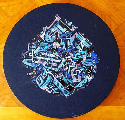 """""""Mētztli"""" (Luna/Lune en Náhuatl) 40 cm ∅, acrylique sur toile, 2019."""