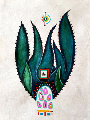Chicatana Mayahuel-Alebrije 39x30 cm, acrylique sur papier amate, 2018. Prix 150€