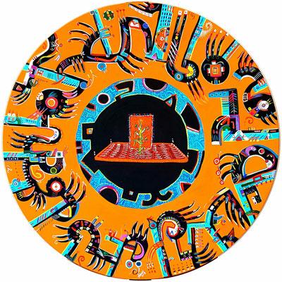 """Elote (En náhuatl, elotitutl, signifie """"maïs tendre"""") 60⌀ cm, acrylique sur toile, 2018."""