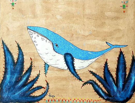 Ballena Azul Mayahuel-Alebrije 39x30 cm, acrylique sur papier amate, 2018. Prix 150 €