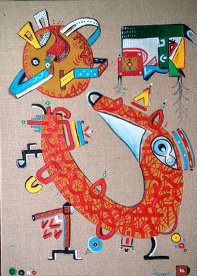 """"""" Kauxaí """"  (Zorro / Renard / Vos, langue Huichol)  50x70 cm, acrylique et huile sur jute.  2016"""