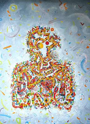Autoportrait (Auto retrato) 120x100 cm. Acrylique et huile sur toile, 2018.