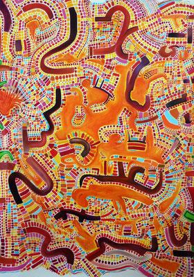 """""""Teyolquima"""" (Qui fait le plaisir de l'âme et du corps, en langue Náhuatl), 200x150 cm, huile et acrylique sur toile. 2011."""