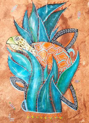 Tortuga Mayahuel-Alebrije 39x30 cm, acrylique sur papier amate, 2018. Prix 150€