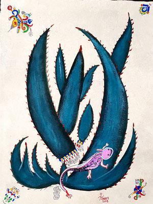 Axolotl Mayahuel-Alebrije 39x30 cm, acrylique sur papier amate, 2018. Prix 150 €