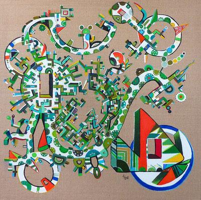 Bicicleta (Bicyclette) 80x80 cm acrylique et huile sur toile jute. 2016
