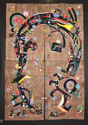 """"""" Toccare"""" 80x118 cm (4 amates réunis, 40x60 cm), acrylique sur amate, 2017."""