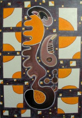 """La figure est la limite du solide"" (""La figura es el límite de lo sólido"", Platon), 50x70 cm, technique mixte sur toile, 2008."