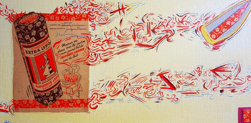 """""""Jocelyne"""" 30x60 cm acrylique et collage sur toile. 2013"""