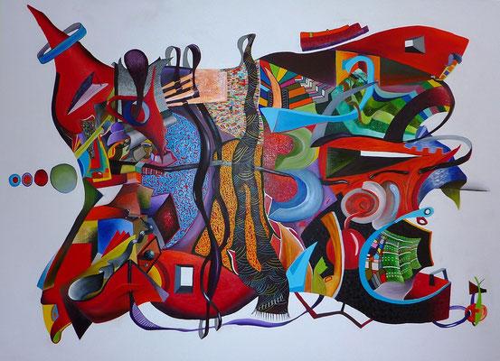 """""""Aperture alla vita"""" 210x160 cm, huile et acrylique sur toile. (Collection Privée, Bordeaux), 2011."""
