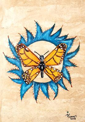 Mariposa Monarca con Rayo de Jalisco! Mayahuel-Alebrije 39x30 cm, acrylique sur papier amate, 2018. Prix 150€