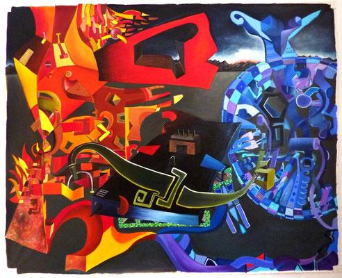 Sol y Luna III 200x160 cm acrylique et huile sur toile. 2012.