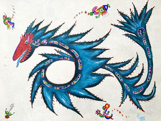 Iguana - Serpiente Mayahuel-Alebrije 39x30 cm, acrylique sur papier amate, 2018. Prix 150 €