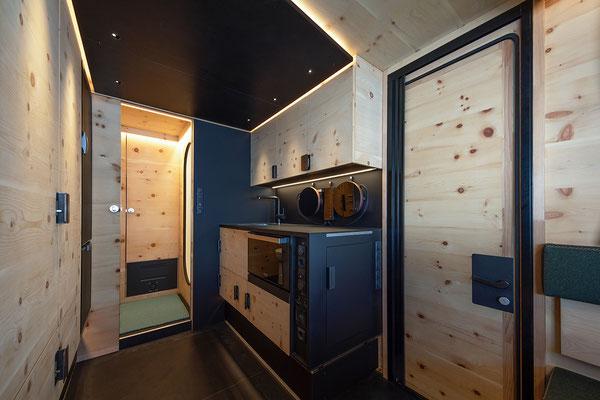 Küchenbereich in der Zirbenbox