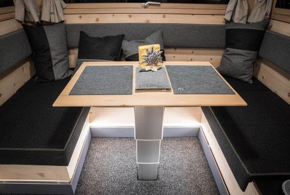 Camping Hubtisch Holz - Zirbenbox