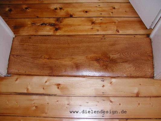 Türschweller geschliffen und mit Holzhartöl versiegelt