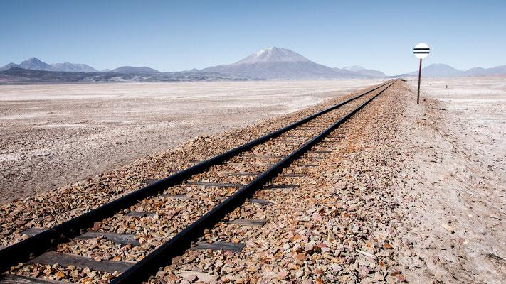 Voie ferrée reliant Uyuni (Bolivie) à Calama (Chili)