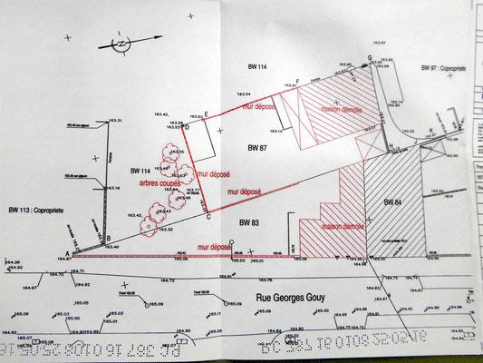Plan du site avec les démolitions et les coupes d'arbres projetées