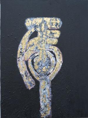 """""""Tiger"""" - Acryl auf Leinwand, Blattgold - 60 x 80 - 2007"""