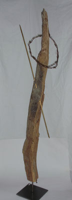 """Golgatha"" - Holz/Messing/Stacheldraht - 148 x 30 x 30 - 2011"