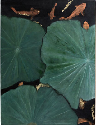"""Lotus"" - Acryl auf Leinwand, Blattgold - 60 x 80 - 2007"