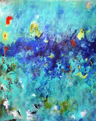 """Rhapsodie in blue"" - Acryl auf Leinwand - 80 x 100 - 2019"