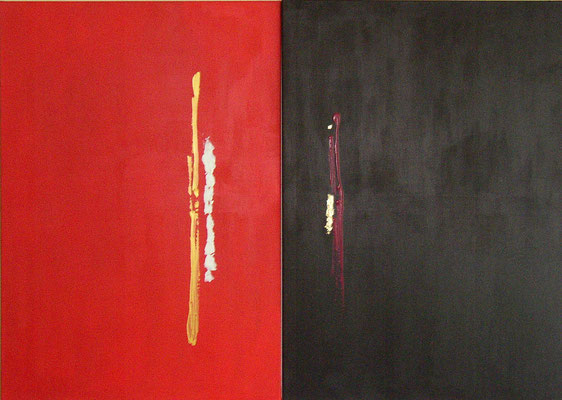 """Papstwahl"" - Acryl, Blattgold auf Leinwand - Diptychon 2 | 70 x 100 - 2005"