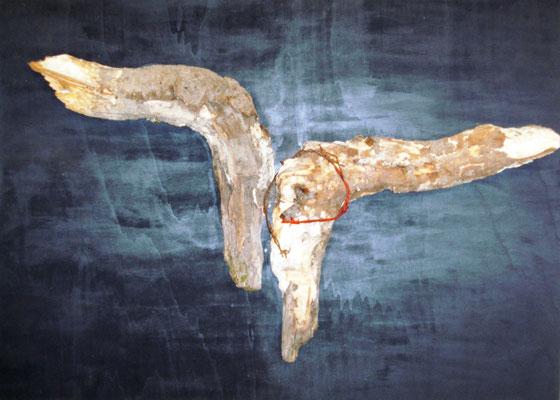 """""""Aufgestiegen"""" - Acryl-Holzplatte-Baumholz-Stacheldraht - 70 x 100 - 2011"""