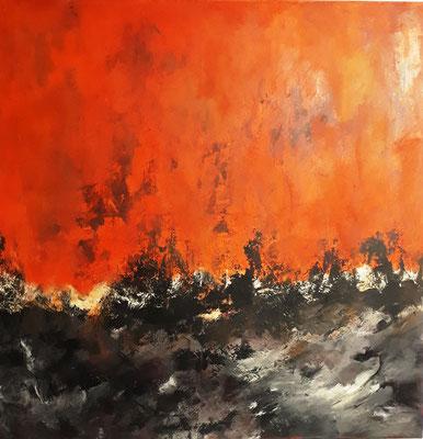"""Mitten im Rot"" - Acryl auf Leinwand - 100 x 100 - 2007/2018"