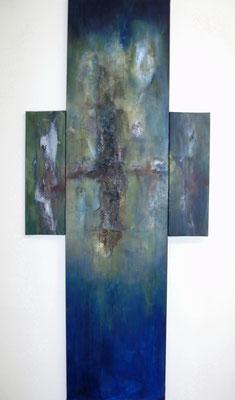 """""""Es ist vollbracht"""" - Acryl auf Leinwand, div. Materialien - 89 x 200 - 2009/2011"""