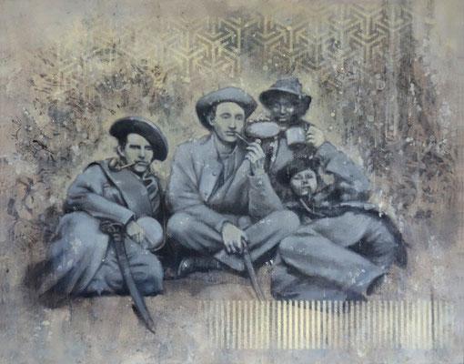 SMOKERS - acrylique, spray paint et huile sur bois - 40x50 cm