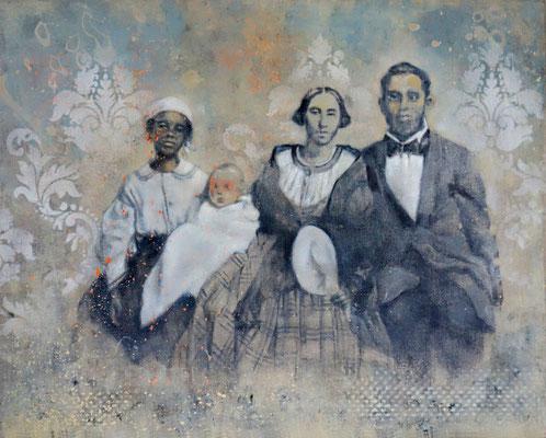 FAMILY LIFE - acrylique et huile sur bois - 40 x 50 cm