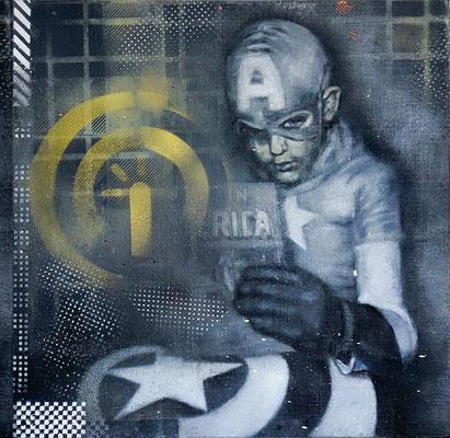 KID OF AMERICA - acrylique, spray paint et huile sur toile - 40x40 cm