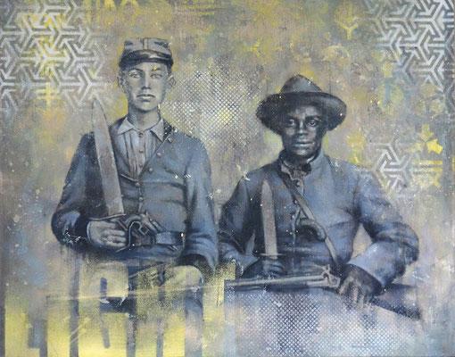 CONFEDERATE - acrylique, spray paint et huile sur bois - 40x 50 cm